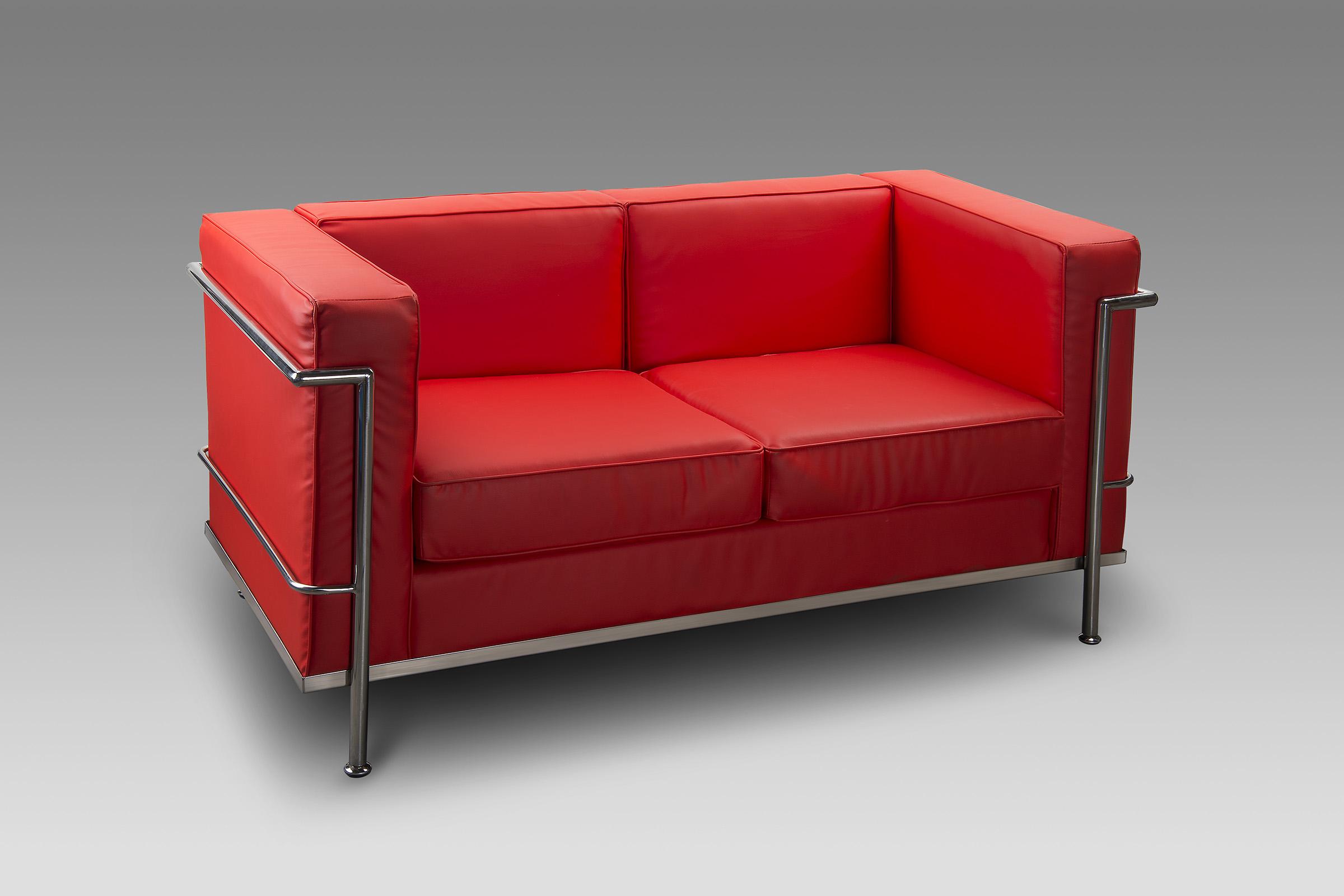 Divano Rosso Ecopelle : Sedute ecopelle e imbottite : divano milano ecopelle rosso 2 posti