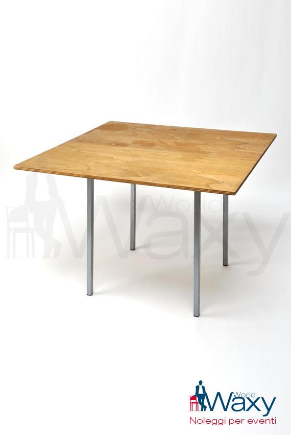 Tavoli Tavolo Quadrato Cm 70x70 Piano In Legno Grezzo